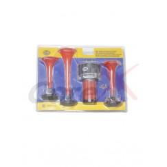 Claxon 12V 3 pipe cu compresor
