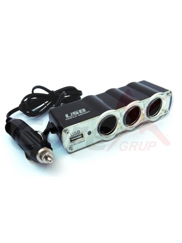 Prelungitor bricheta cu 3 iesiri si USB